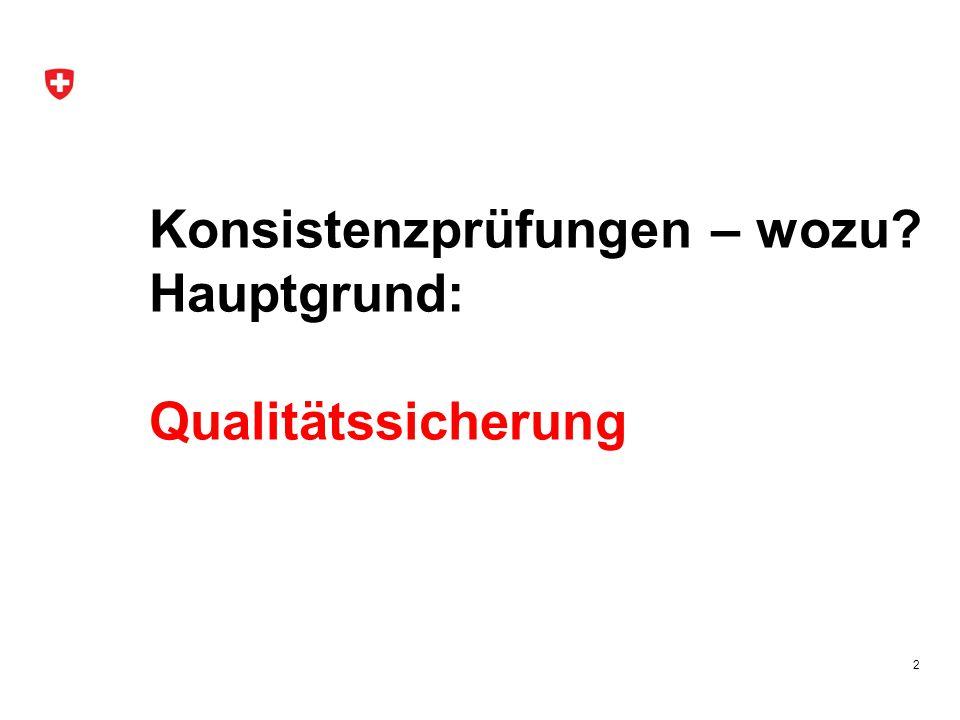 Konsistenzprüfungen – wozu Hauptgrund: Qualitätssicherung