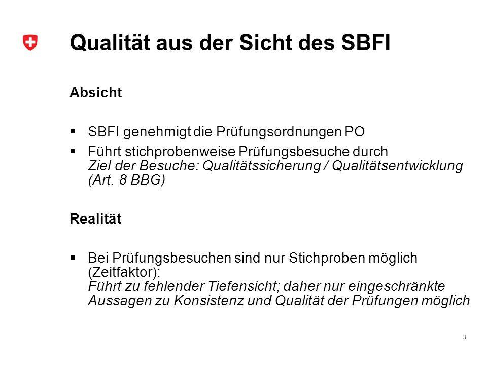 Qualität aus der Sicht des SBFI
