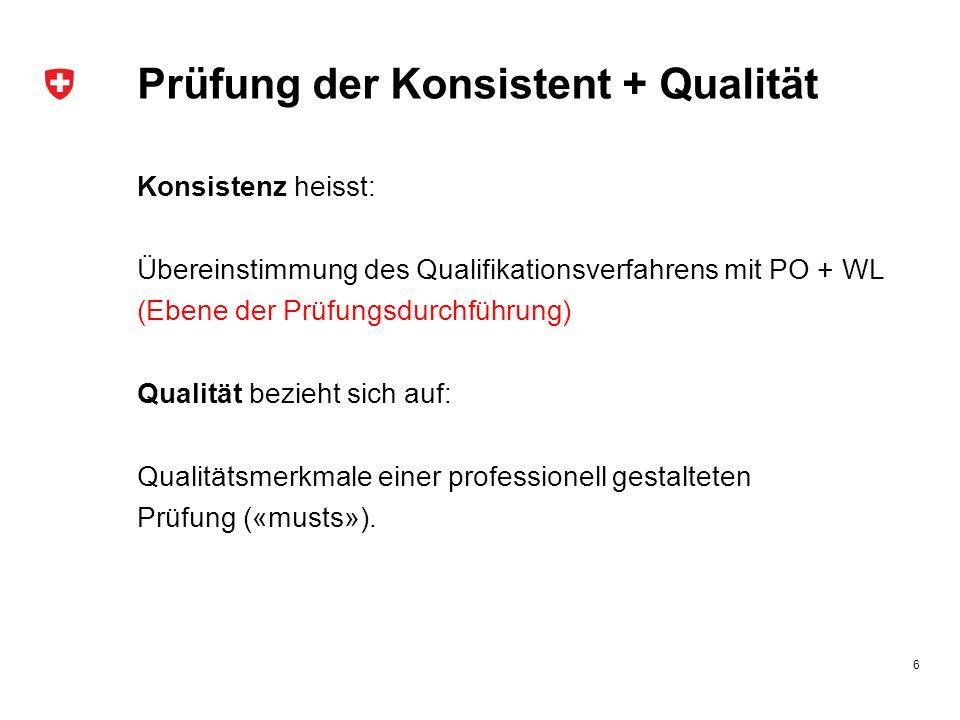 Prüfung der Konsistent + Qualität