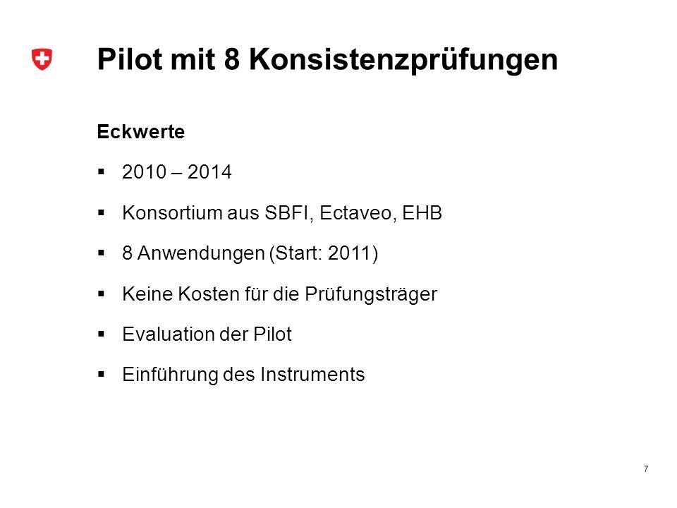 Pilot mit 8 Konsistenzprüfungen