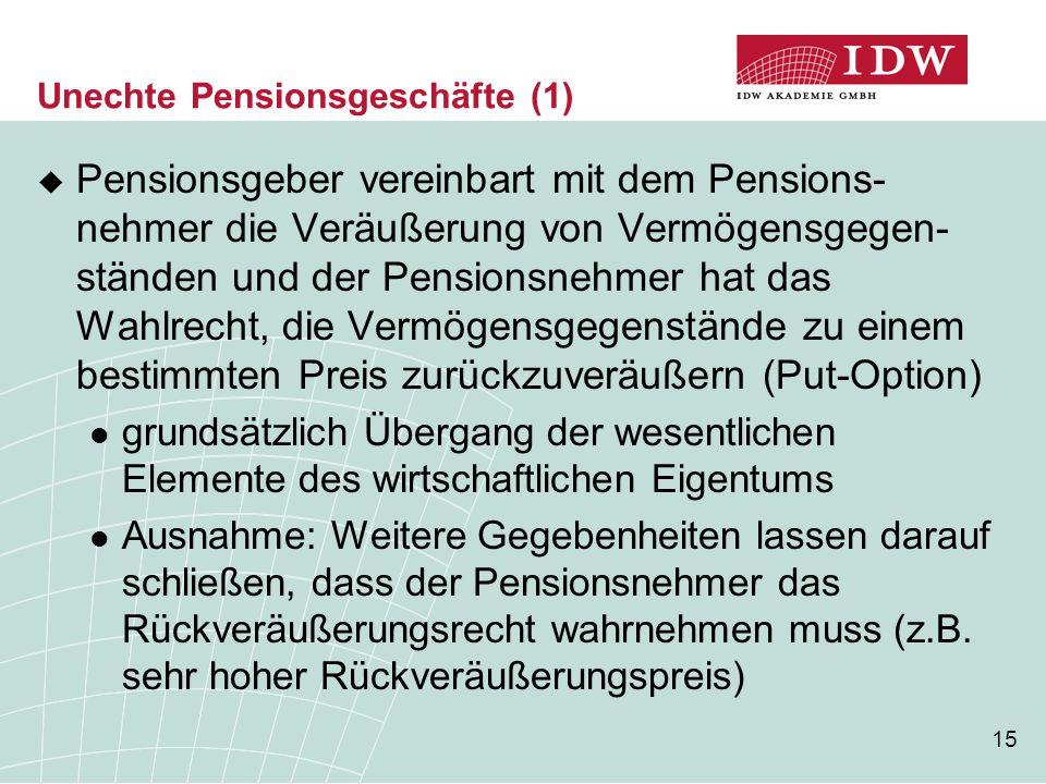 Unechte Pensionsgeschäfte (1)