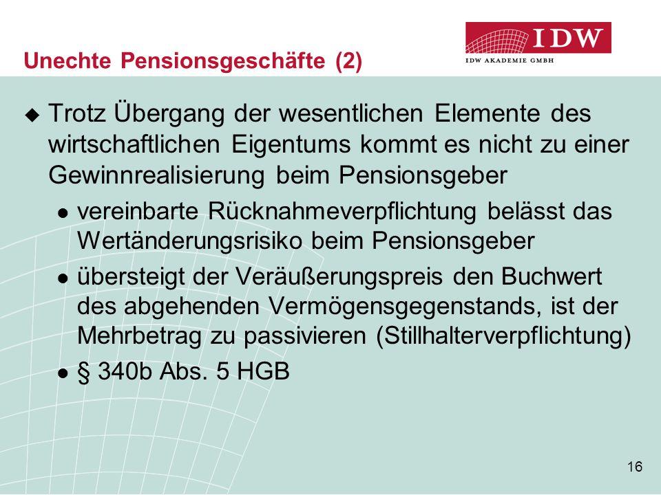 Unechte Pensionsgeschäfte (2)