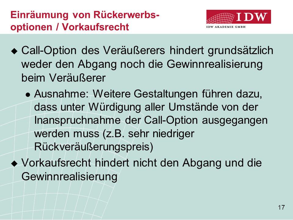 Einräumung von Rückerwerbs-optionen / Vorkaufsrecht