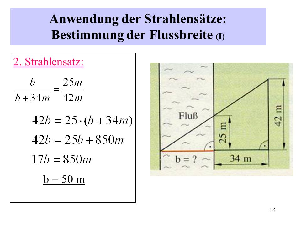Anwendung der Strahlensätze: Bestimmung der Flussbreite (I)