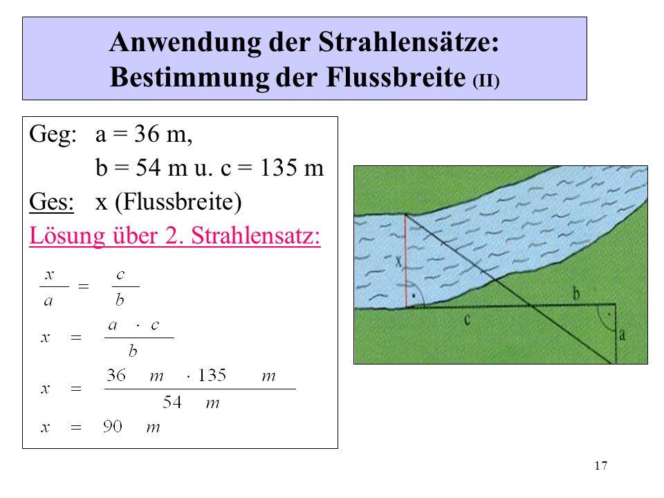 Anwendung der Strahlensätze: Bestimmung der Flussbreite (II)