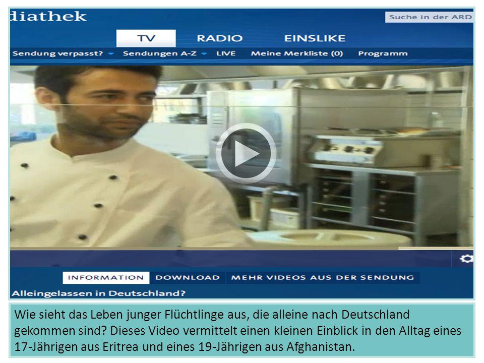 """Unter folgendem Link ist das Video """"Flüchtlingskinder - Alleingelassen in Deutschland zu finden. Quelle: ARD Mediathek/BR. Ausgestrahlt am 20.11.2014. Dauer: 1:45min. Verfügbar bis 20.11.2015."""