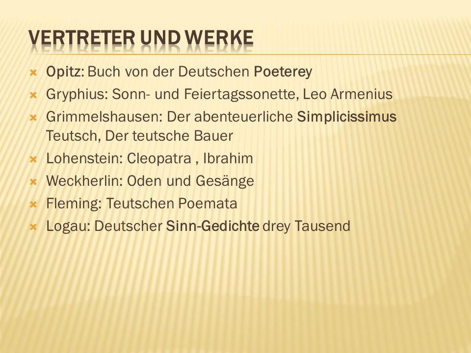 Vertreter und Werke Opitz: Buch von der Deutschen Poeterey