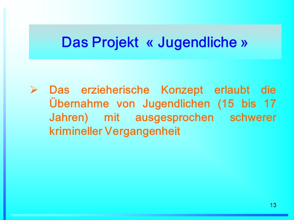 Das Projekt « Jugendliche »