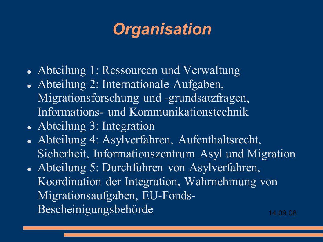 Organisation Abteilung 1: Ressourcen und Verwaltung