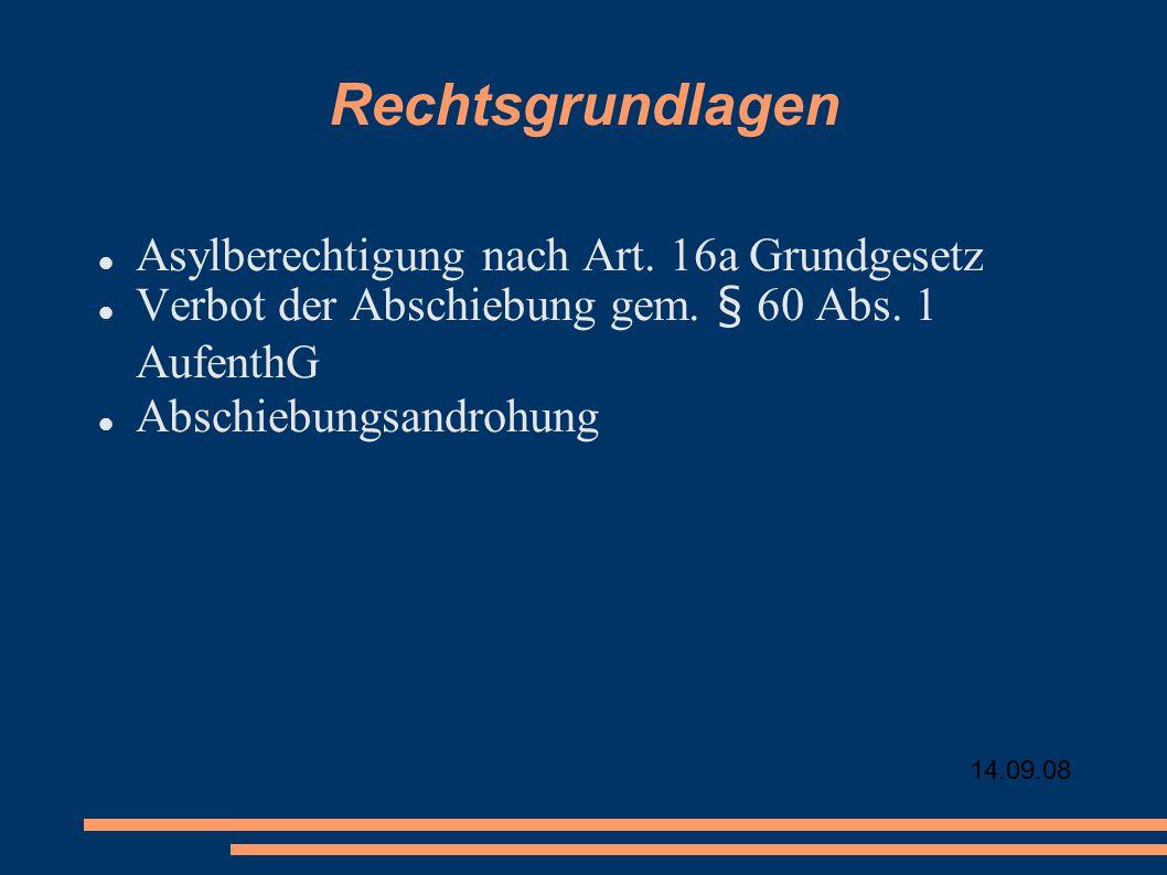Rechtsgrundlagen Asylberechtigung nach Art. 16a Grundgesetz