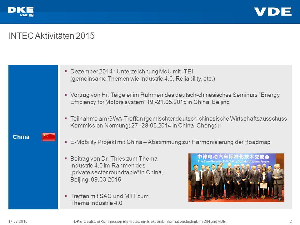 INTEC Aktivitäten 2015 China. Dezember 2014 : Unterzeichnung MoU mit ITEI (gemeinsame Themen wie Industrie 4.0, Reliability, etc.)