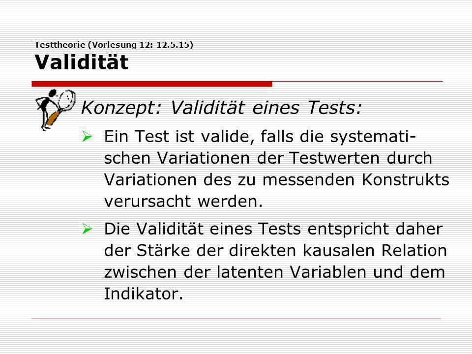 Testtheorie (Vorlesung 12: 12.5.15) Validität