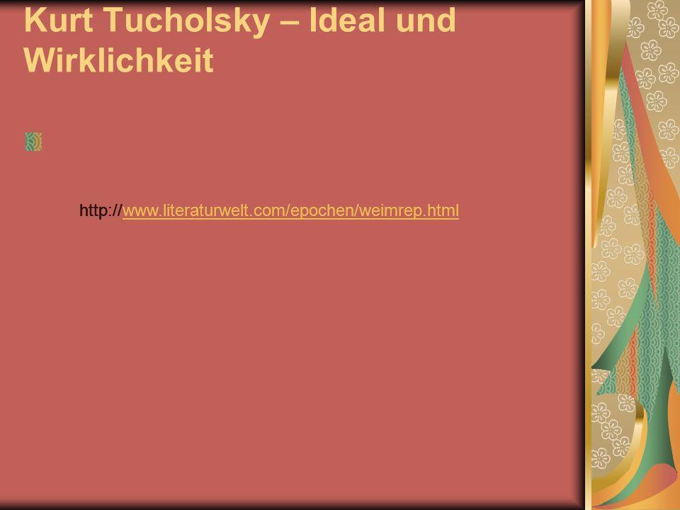Kurt Tucholsky – Ideal und Wirklichkeit