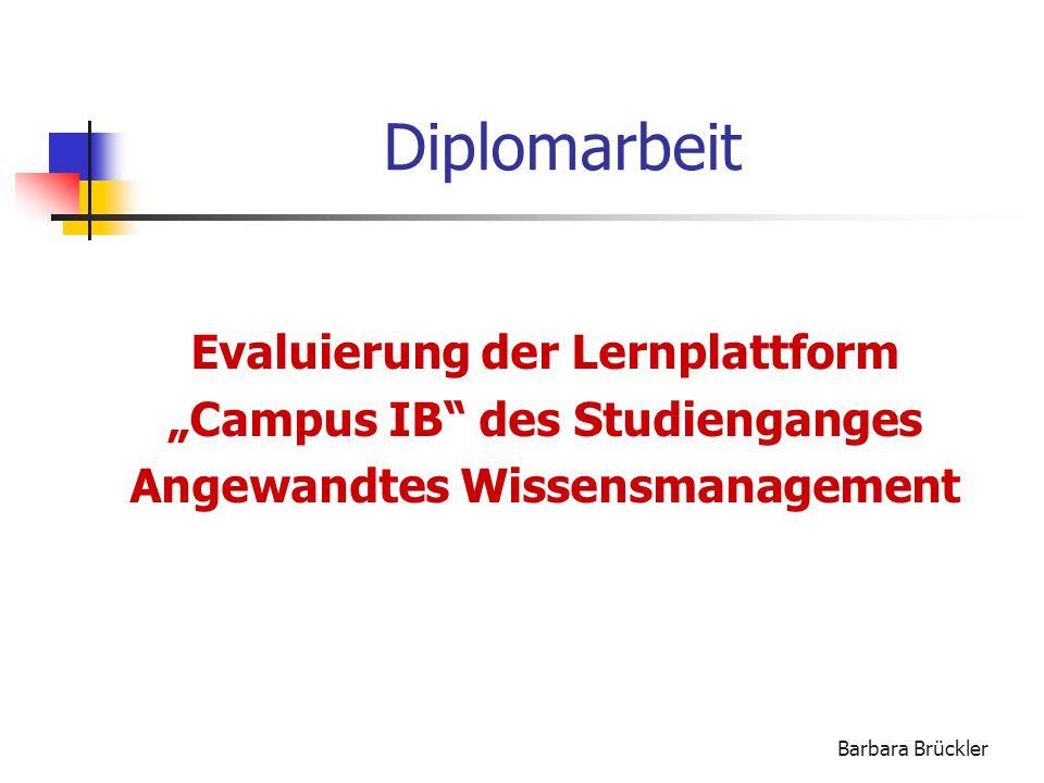 Diplomarbeit Evaluierung der Lernplattform