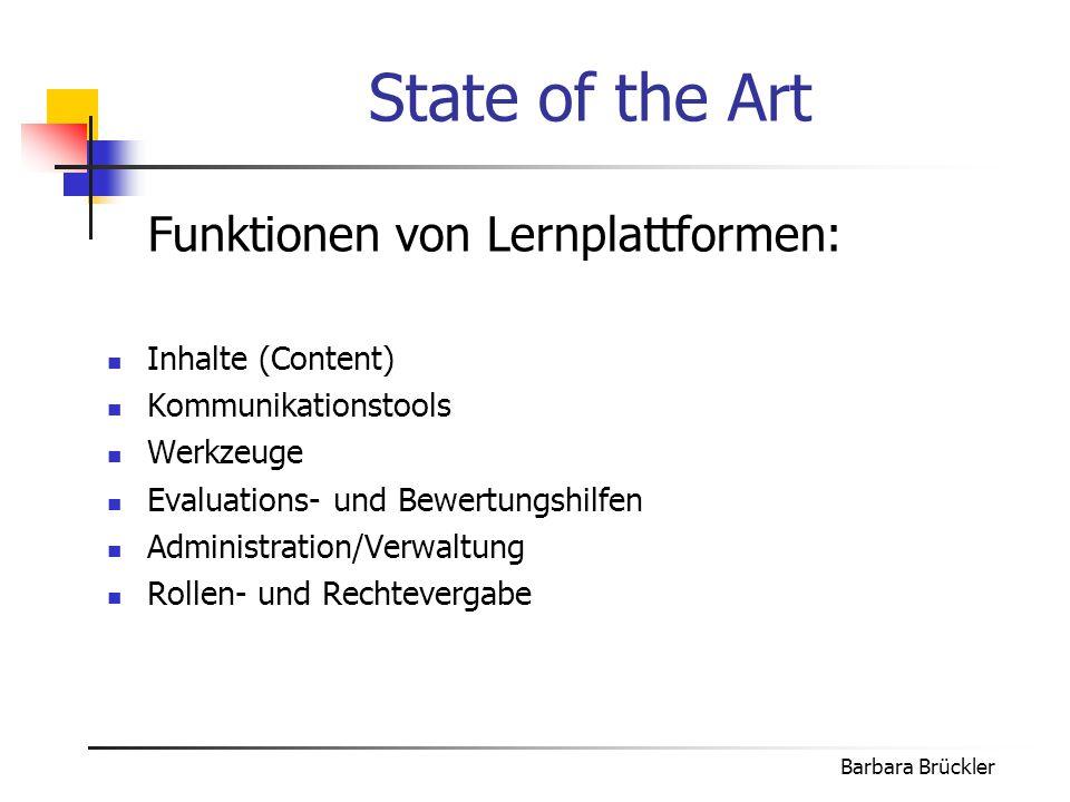 State of the Art Funktionen von Lernplattformen: Inhalte (Content)