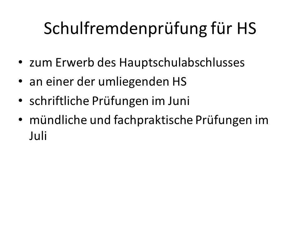 Schulfremdenprüfung für HS