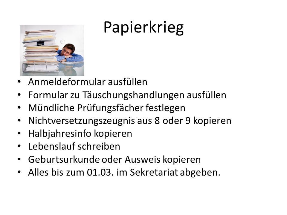 Papierkrieg Anmeldeformular ausfüllen