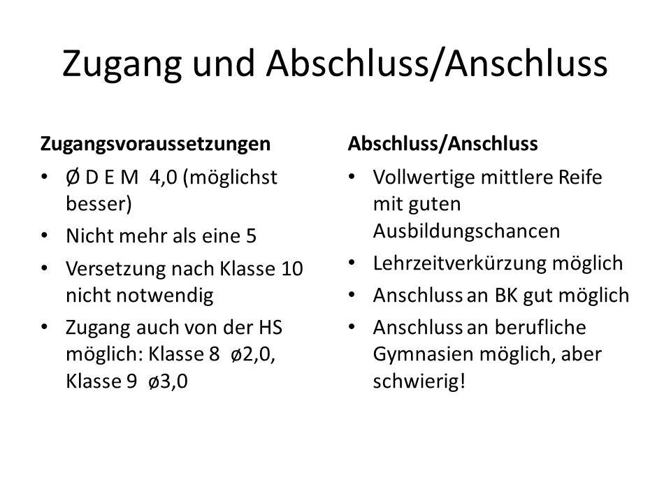 Zugang und Abschluss/Anschluss