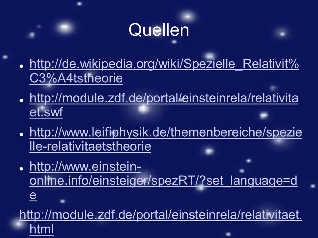 Quellen http://de.wikipedia.org/wiki/Spezielle_Relativit% C3%A4tstheorie. http://module.zdf.de/portal/einsteinrela/relativita et.swf.