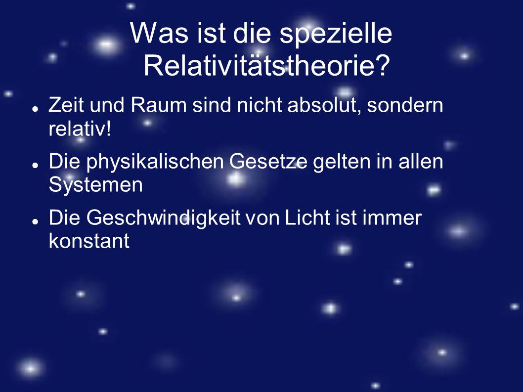 Was ist die spezielle Relativitätstheorie