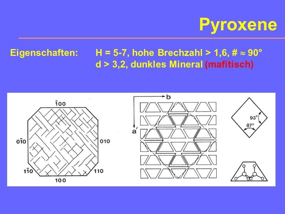 Pyroxene Eigenschaften: H = 5-7, hohe Brechzahl > 1,6, #  90°