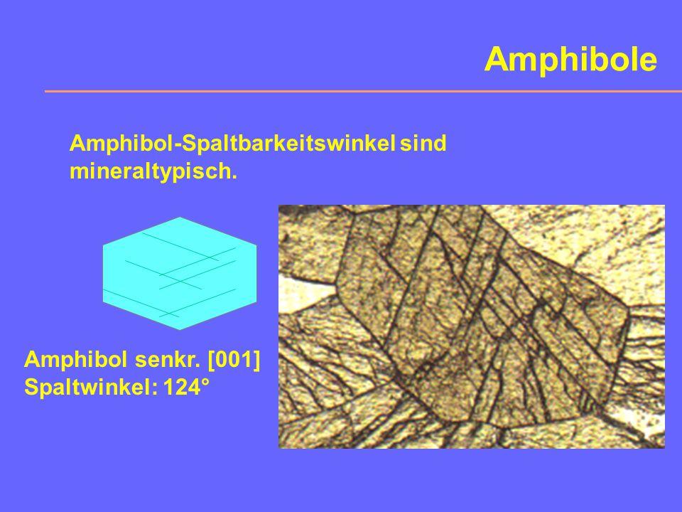 Amphibole Amphibol-Spaltbarkeitswinkel sind mineraltypisch.