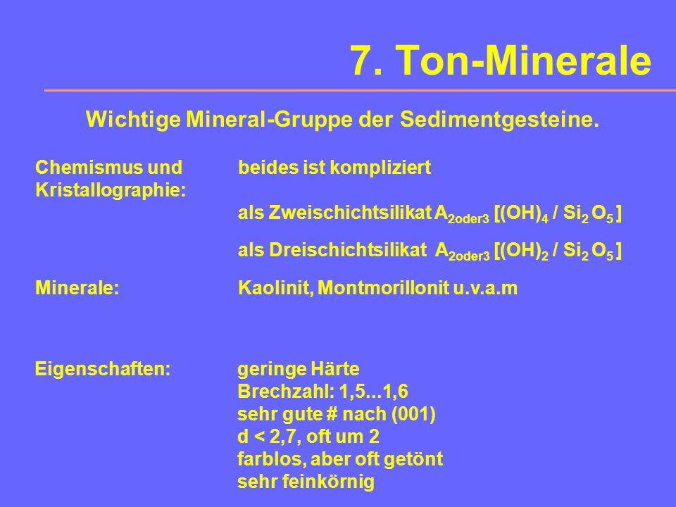 7. Ton-Minerale Wichtige Mineral-Gruppe der Sedimentgesteine.