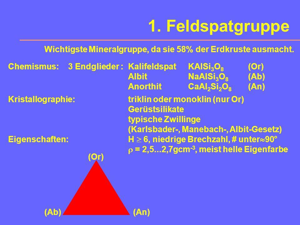 1. Feldspatgruppe Wichtigste Mineralgruppe, da sie 58% der Erdkruste ausmacht. Chemismus: 3 Endglieder : Kalifeldspat KAlSi3O8 (Or)