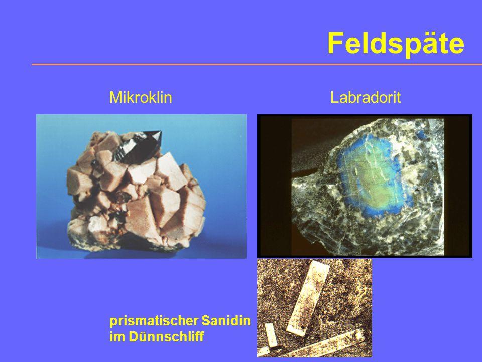 Feldspäte Mikroklin Labradorit prismatischer Sanidin im Dünnschliff