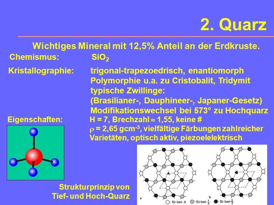 2. Quarz Wichtiges Mineral mit 12,5% Anteil an der Erdkruste.