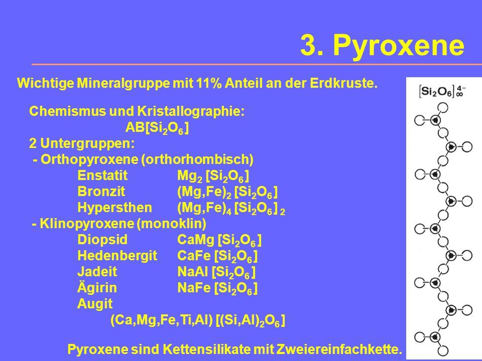 3. Pyroxene Wichtige Mineralgruppe mit 11% Anteil an der Erdkruste.