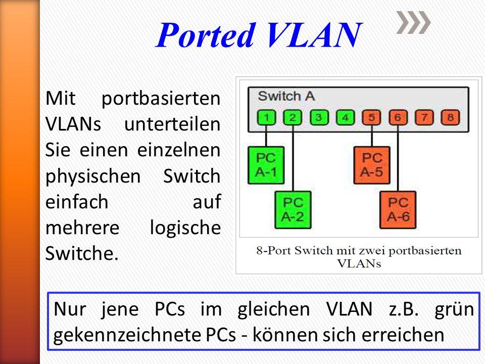 Ported VLAN Mit portbasierten VLANs unterteilen Sie einen einzelnen physischen Switch einfach auf mehrere logische Switche.