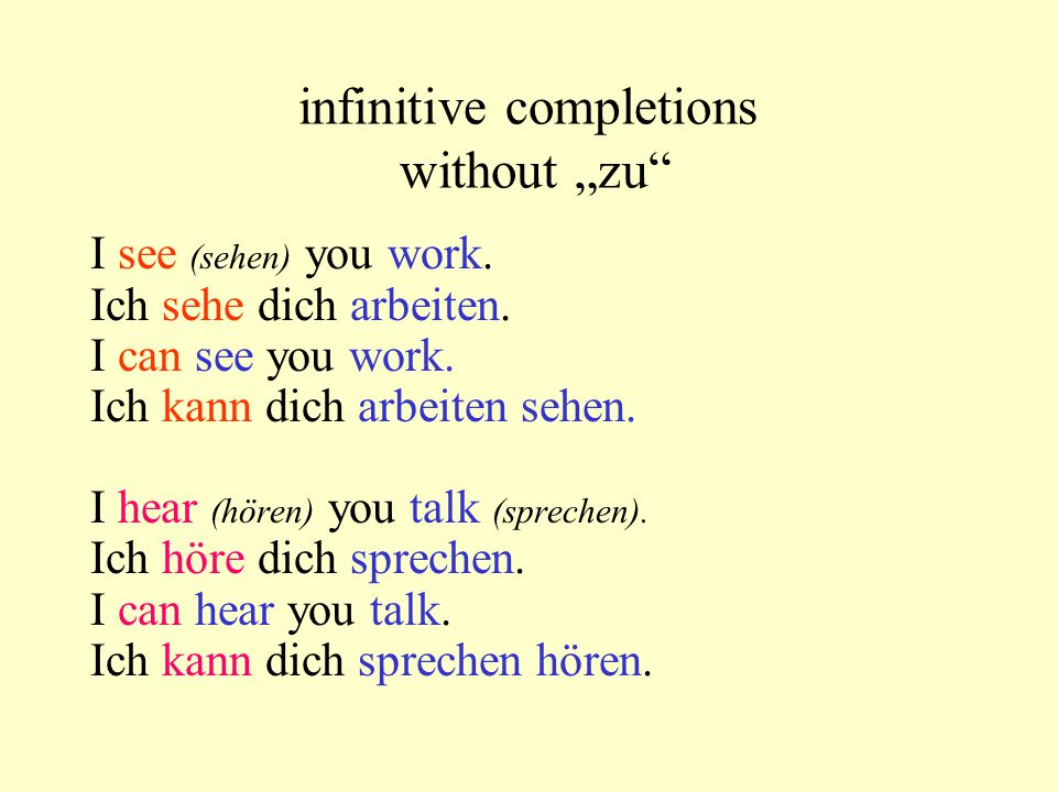 "infinitive completions without ""zu"