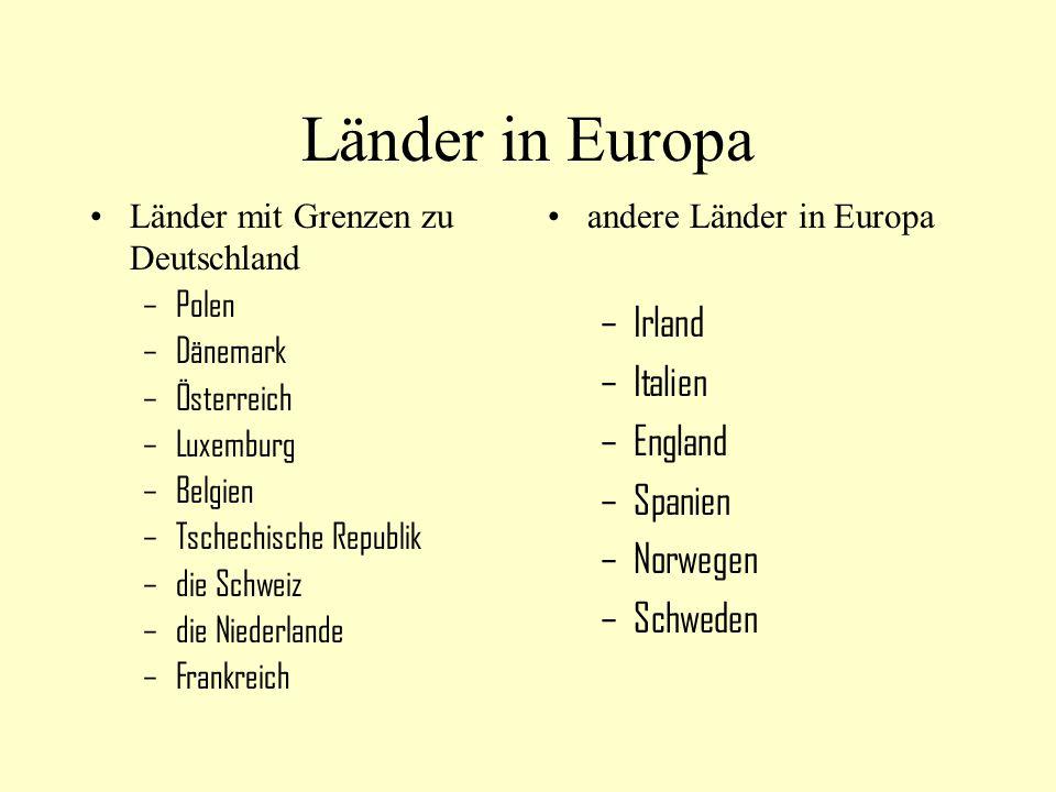 Länder in Europa Irland Italien England Spanien Norwegen Schweden