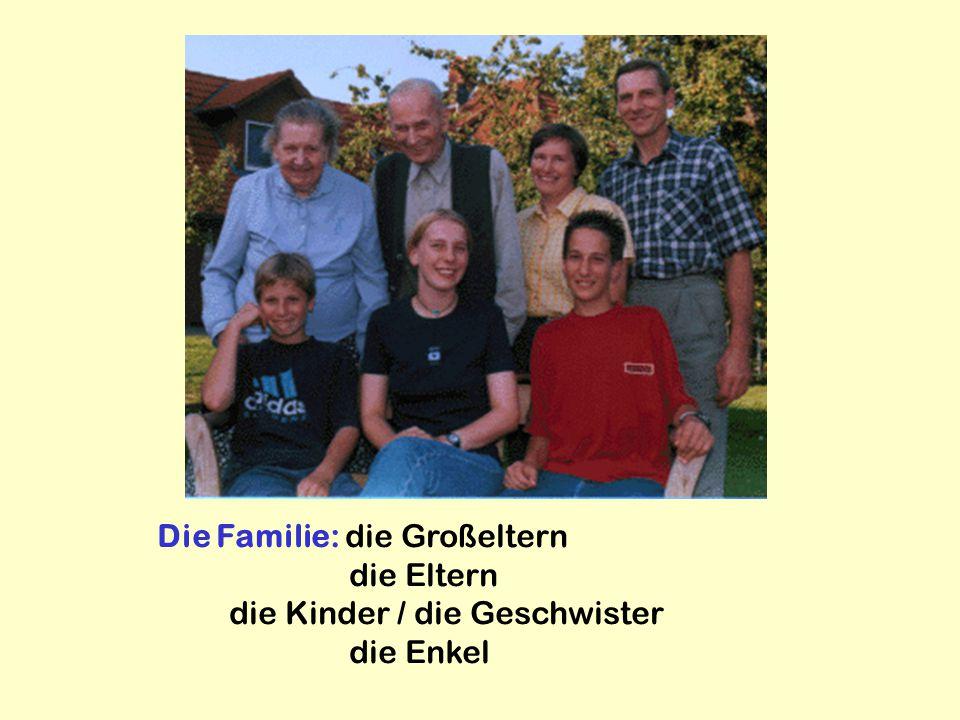 Die Familie: die Großeltern die Eltern die Kinder / die Geschwister die Enkel