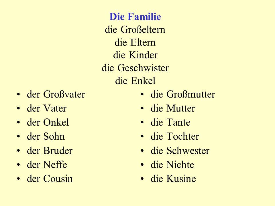 Die Familie die Großeltern die Eltern die Kinder die Geschwister die Enkel