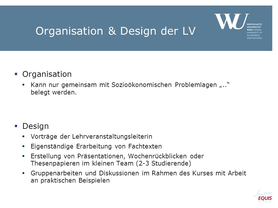 Organisation & Design der LV