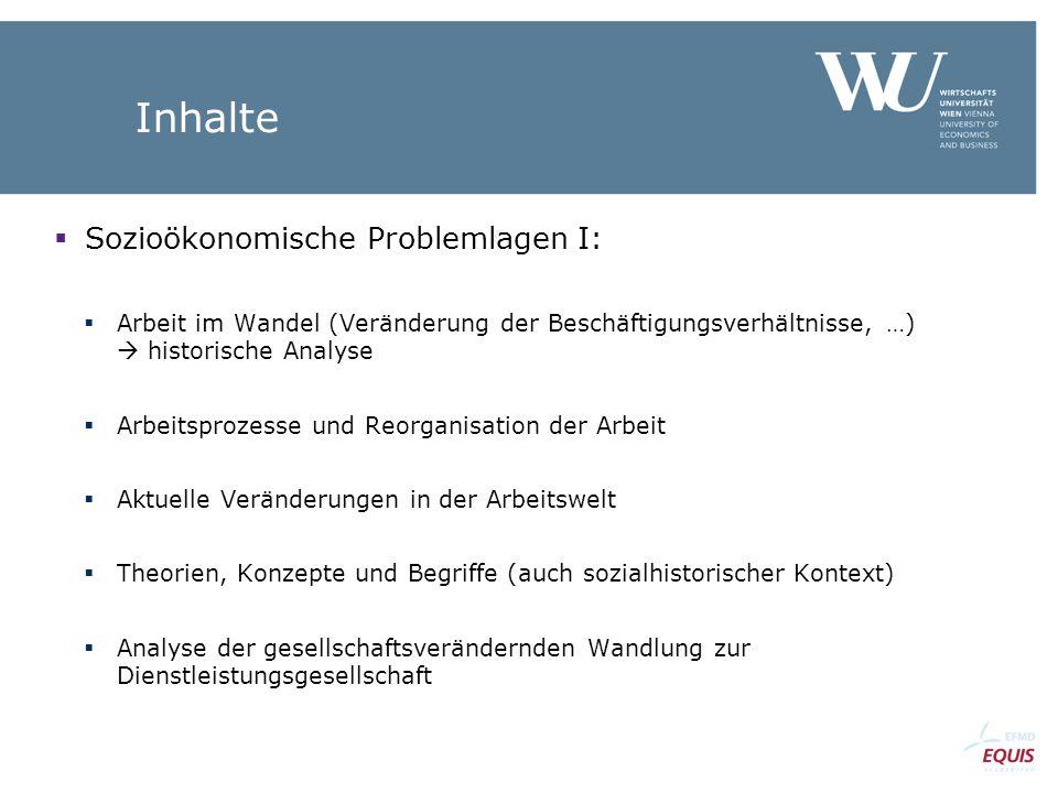 Inhalte Sozioökonomische Problemlagen I:
