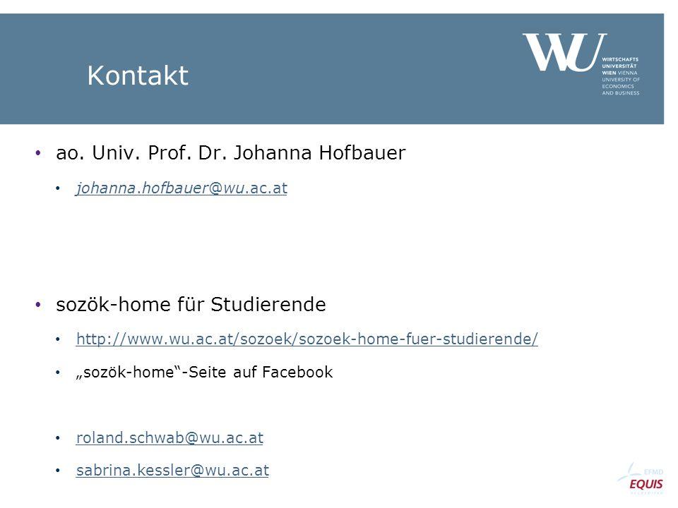 Kontakt ao. Univ. Prof. Dr. Johanna Hofbauer