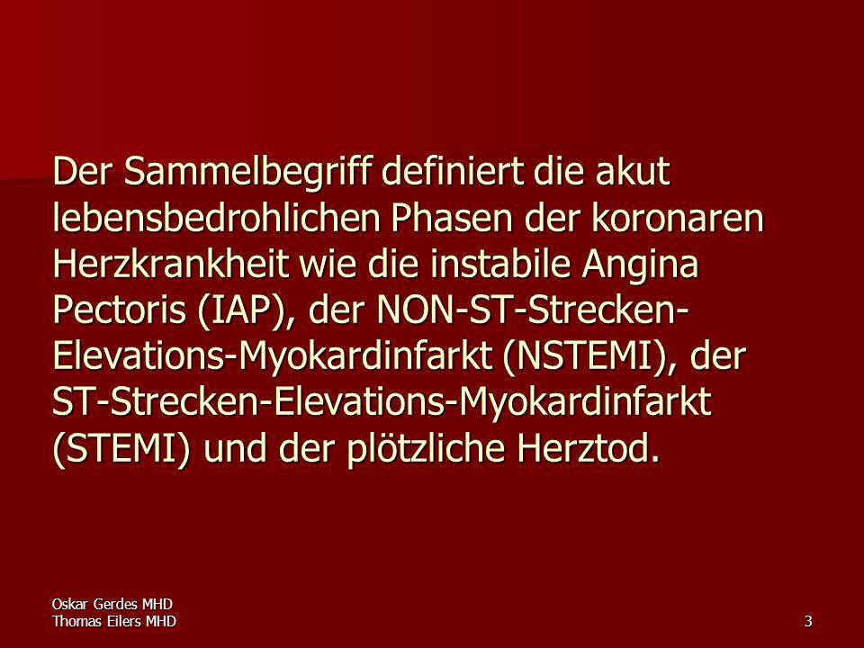 Der Sammelbegriff definiert die akut lebensbedrohlichen Phasen der koronaren Herzkrankheit wie die instabile Angina Pectoris (IAP), der NON-ST-Strecken-Elevations-Myokardinfarkt (NSTEMI), der ST-Strecken-Elevations-Myokardinfarkt (STEMI) und der plötzliche Herztod.