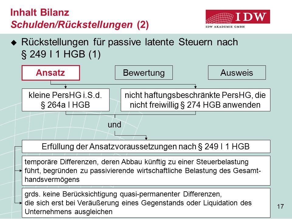 Inhalt Bilanz Schulden/Rückstellungen (2)