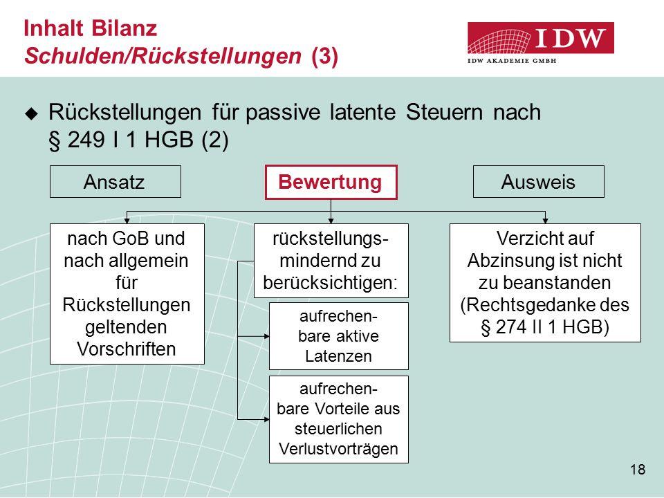 Inhalt Bilanz Schulden/Rückstellungen (3)