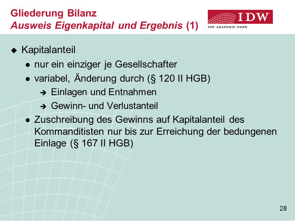 Gliederung Bilanz Ausweis Eigenkapital und Ergebnis (1)