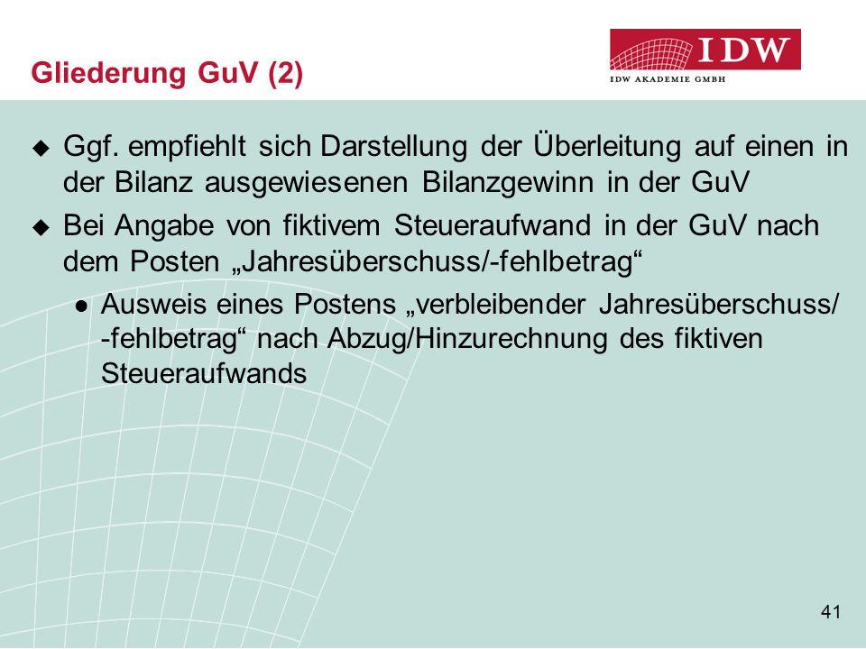 Gliederung GuV (2) Ggf. empfiehlt sich Darstellung der Überleitung auf einen in der Bilanz ausgewiesenen Bilanzgewinn in der GuV.