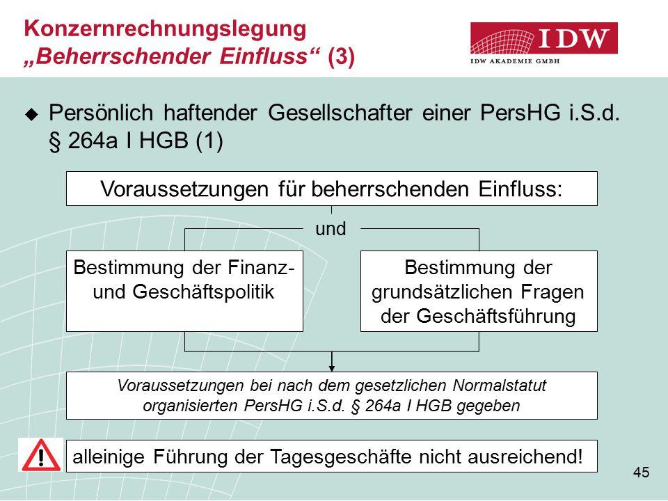 """Konzernrechnungslegung """"Beherrschender Einfluss (3)"""