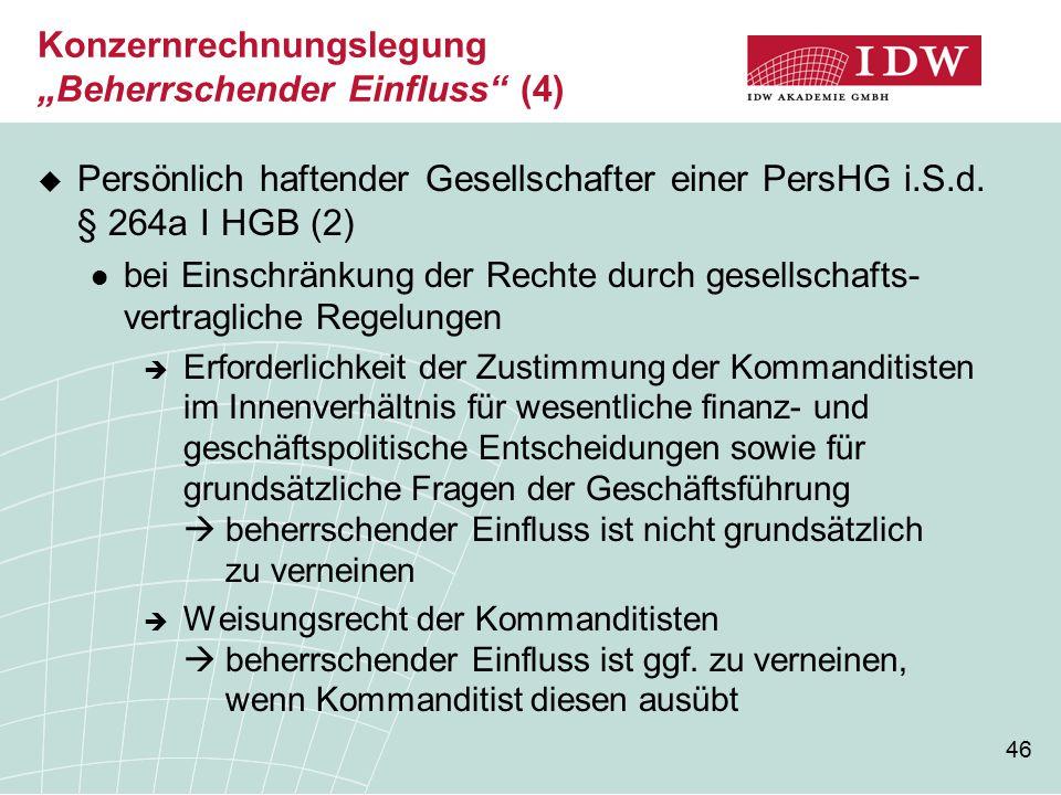 """Konzernrechnungslegung """"Beherrschender Einfluss (4)"""