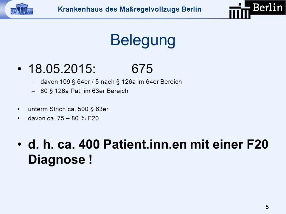 Belegung 18.05.2015: 675. davon 109 § 64er / 5 nach § 126a im 64er Bereich. 60 § 126a Pat. im 63er Bereich.
