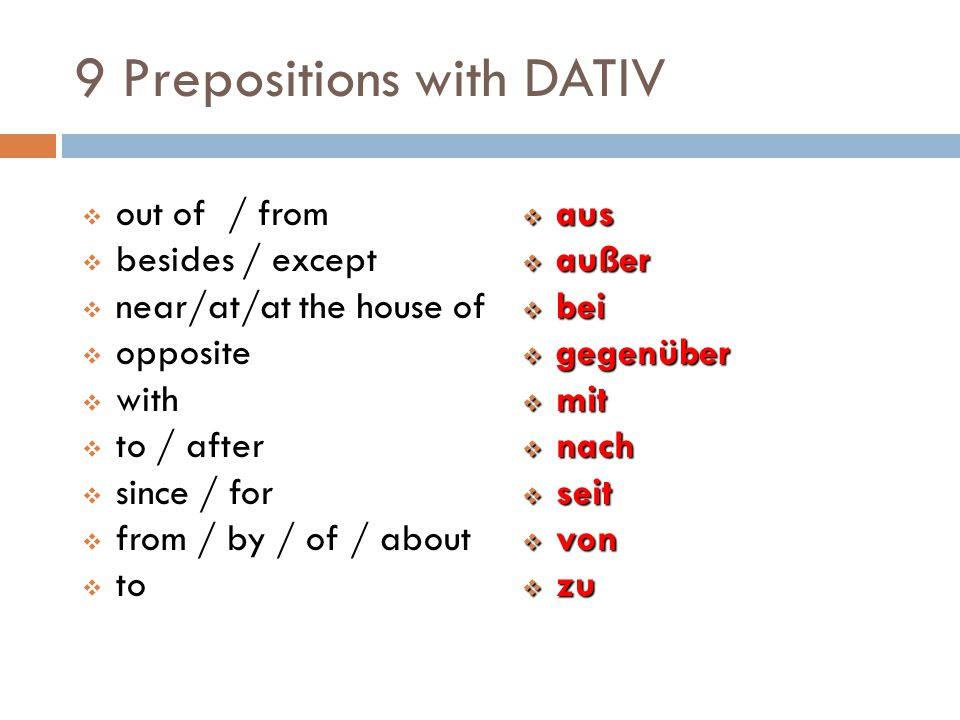9 Prepositions with DATIV