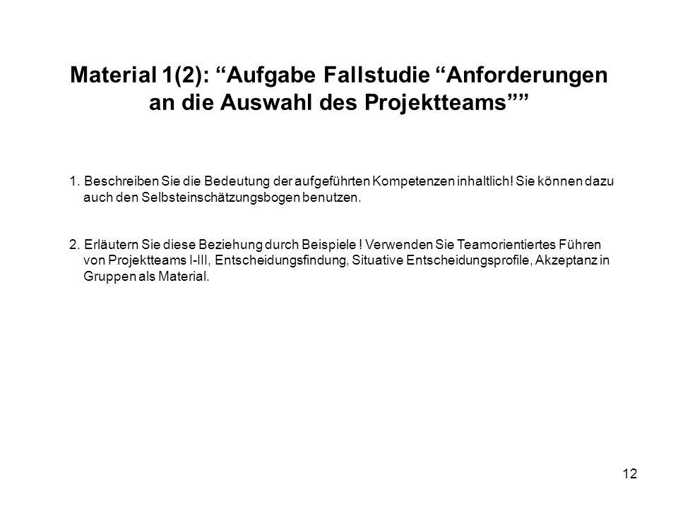 Material 1(2): Aufgabe Fallstudie Anforderungen an die Auswahl des Projektteams