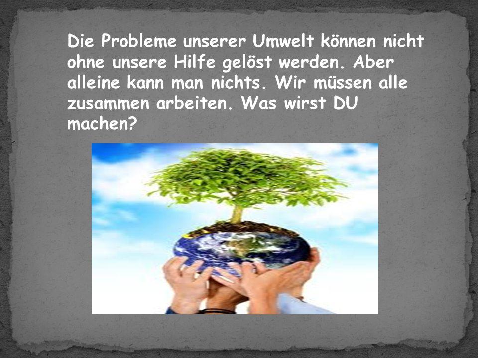 Die Probleme unserer Umwelt können nicht ohne unsere Hilfe gelöst werden.